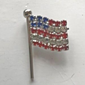 Patriotic American Flag Rhinestone Pin Brooch NOS